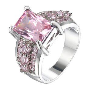 Luxusný široký prsteň s ružovým zirkónom
