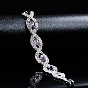 Luxusný náramok s fialovými zirkónmi