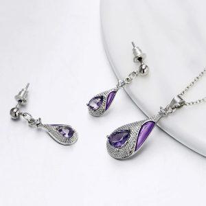 Elegantný fialový set náušníc a retiazky s príveskom