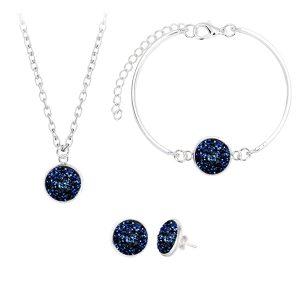Elegantný 3-set z malých modrých kryštálikov
