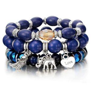 Štýlový modrý náramkový 3-set s korálkami