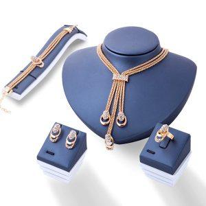Luxusný 4-set náhrdelník, náramok, prsteň a náušnice