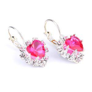 Strieborné náušnice s kryštáľovým ružovým srdiečkom