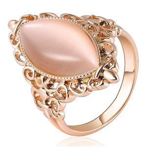 Elegantný ružový prsteň s kameňom mačacie oko