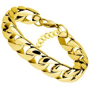 Pánsky oceľový hrubý náramok - zlatý
