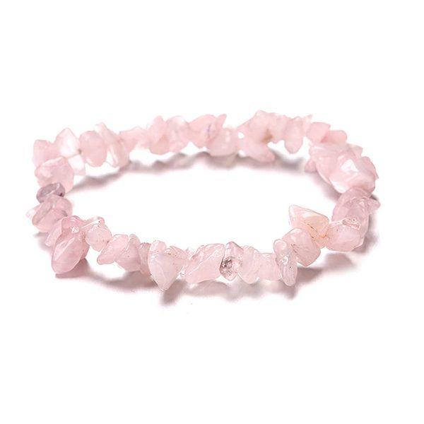 Ružový náramok z prírodného kameňa