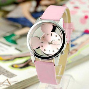 Ružové hodinky s ciferníkom v tvare Mickey Mouse