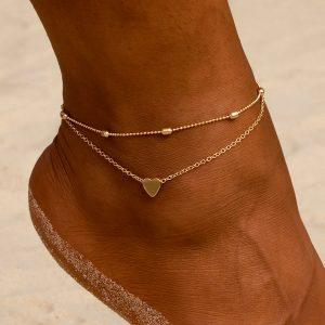 Elegantný set dvoch retiazok na nohu so srdiečkom - zlatý