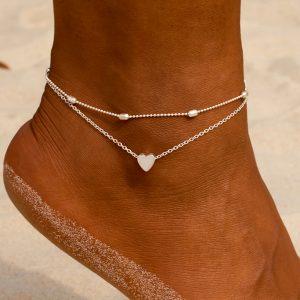 Elegantný set dvoch retiazok na nohu so srdiečkom - strieborný
