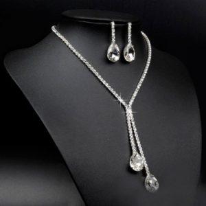Elegantný set náhrdelník a náušnice s veľkými kryštálmi