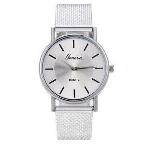 Dámske hodinky so strieborným remienkom v milánskom štýle