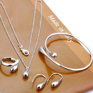 Strieborný set náramok, retiazka a prsteň a náušnice