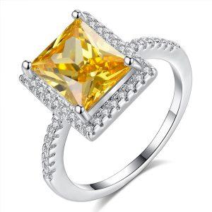 Štýlový prsteň s veľkým žltým zirkónom