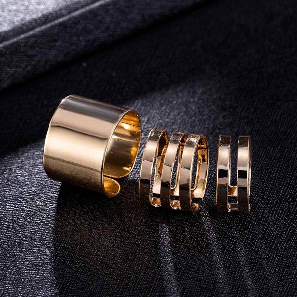 Trojdielny set prsteňov v punkovom štýle - zlatý
