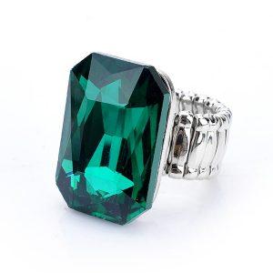 Elastický prsteň s veľkým zeleným kryštálom