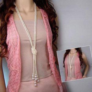 Dlhý dvojradový perlový náhrdelník