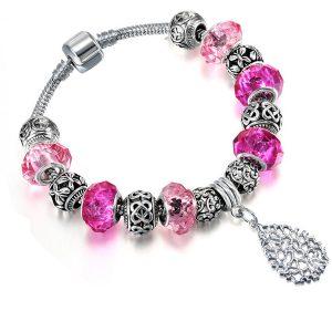 Ružový náramok s kryštálmi a lístkom
