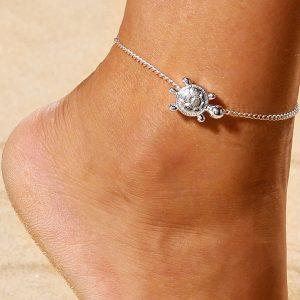 Retiazka na nohu so striebornou korytnačkou