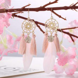 Náušnice lapače snov s pierkom a strapcom - ružové