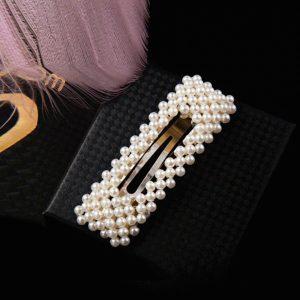 Spona do vlasov s bielymi perličkami - obdĺžniková