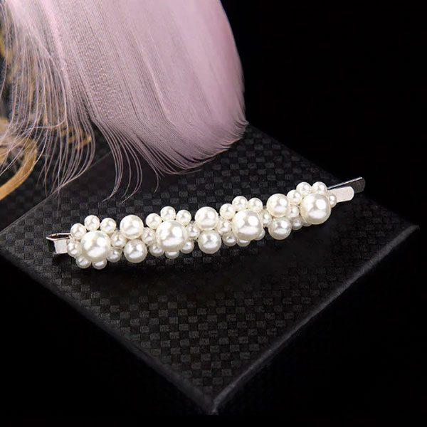 Spona do vlasov s bielymi perličkami - úzka