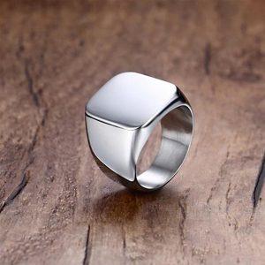 Pánsky prsteň pečatný v striebornej farbe - 11