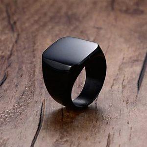 Pánsky prsteň pečatný v čiernej farbe - 11