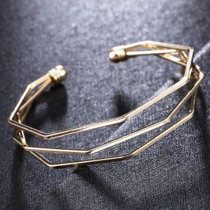 Štýlový geometrický náramok - zlatý
