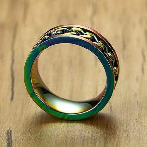 Viacfarebný oceľový prsteň s retiazkou v strede