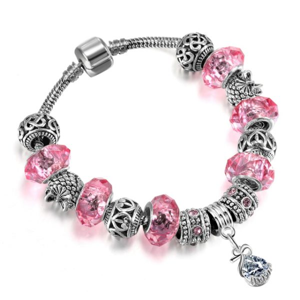 Ružový náramok s kryštálmi a slzičkou